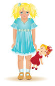 Beautiful blonde girl playing with a dolly, vector — Stock Vector