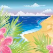 Summer card with flowers and sandcastle. vector illustration — Stock vektor