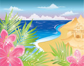 Summer card with flowers and sandcastle. vector illustration — Stock Vector