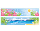 Summer tropical banners, vector illustration — Stock Vector