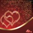 Love card with two ruby hearts, vector — 图库矢量图片