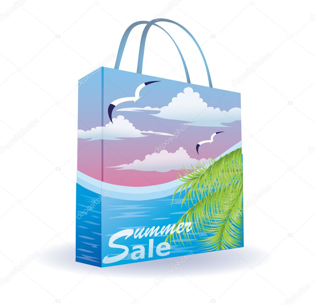 Summer sale shopping bag, vector illustration  Stock Vector #5439409