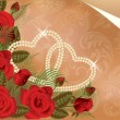 Wedding card with two pearl hearts, vector illustration — 图库矢量图片 #5474009