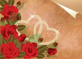 Свадьбу с двумя сердцами Перл, векторные иллюстрации — Cтоковый вектор