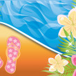 Summer time banner, vector illustration — ストックベクタ