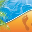 Vector de stock : Summer time. Footprint on the Beach Sand, vector illustration