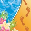 Vector de stock : Summer time card. Footprints in the sand . vector illustration