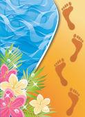 Zomer tijdkaart. voetafdrukken in het zand. vectorillustratie — Stockvector