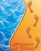 Yaz saati afiş. plaj kum üzerinde ayak sesi. vektör — Stok Vektör