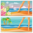 Summer time banners. A pair of feet on the beach. vector — Stock vektor
