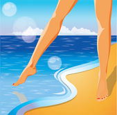 Summer time card. Foots on the beach. vector illustration — Stock Vector