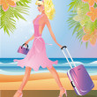 Blondie Girl with travel bag, vector illustration — Imagens vectoriais em stock
