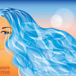 Summer time card with sea-girl. vector illustration — Stockvectorbeeld
