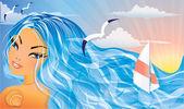 Beautiful Summer girl and sea. vector illustration — Stock Vector