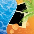 ストックベクタ: Photo card on sand beach of a sea. vector illustration