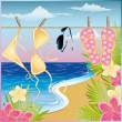 Summer time card. vector illustration — Vettoriali Stock