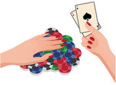 Female hand and poker chips and cards. vector illustration — Stock Vector