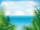 Beautiful Tropical summer background, vector illustration — Stok Vektör