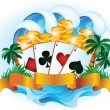 Tropical poker. vector illustration — Stock Vector