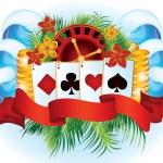 Tropical poker card, vector illustration — Stock Vector