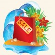 Shopping bag, summer sale. vector illustration — Stock Vector