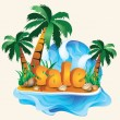 Stock Vector: Tropical sale banner. vector illustration