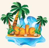 Tropical sale banner. vector illustration — Stock Vector