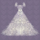 Beautiful Wedding dress. vector illustration — Cтоковый вектор