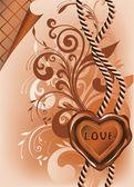 Bruiloft banner met liefde wax stempel, vector illusration — Stockvector