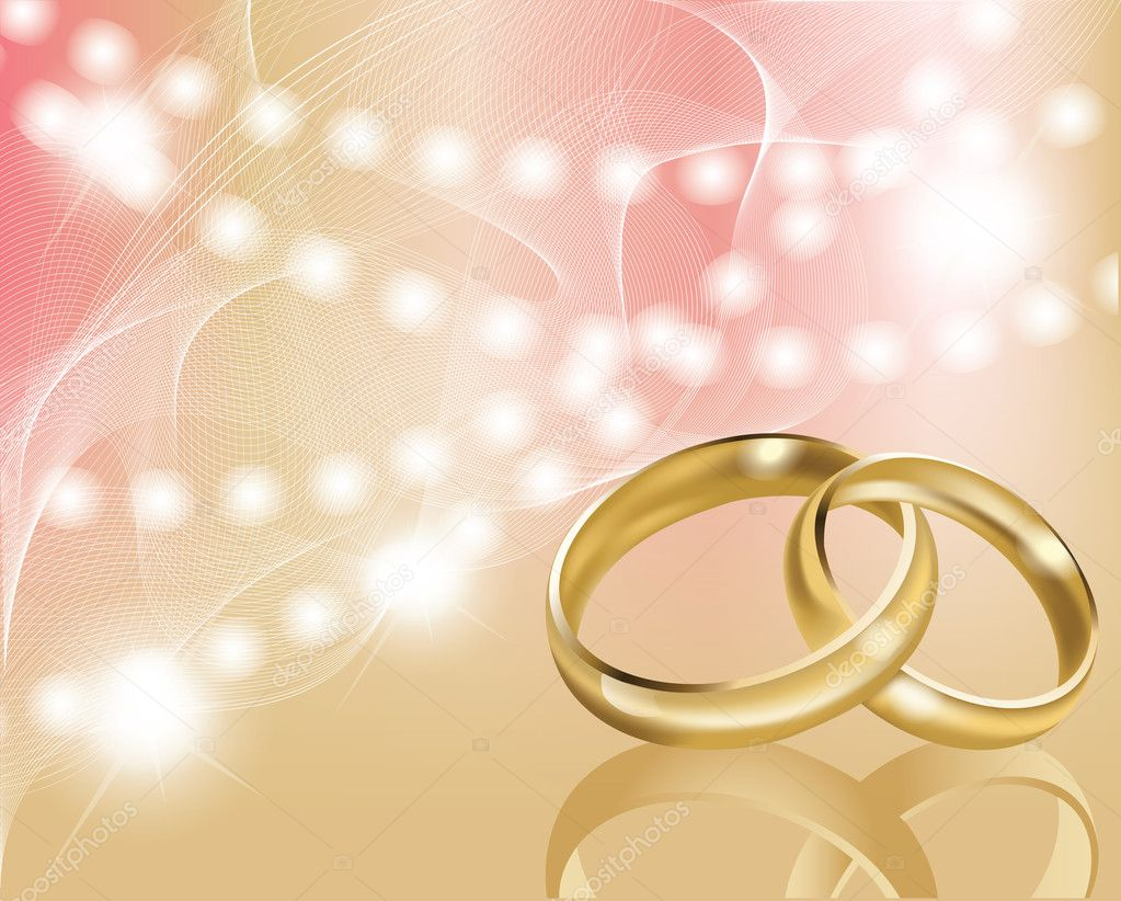 Two wedding ring with abstract background, vector - Stock Illustration