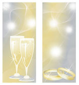 Wedding banners with champagne and rings. vector — Stock Vector