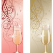 Stock Vector: Two banners with champagne. vector illustration