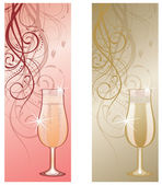 Two banners with champagne. vector illustration — Stock Vector