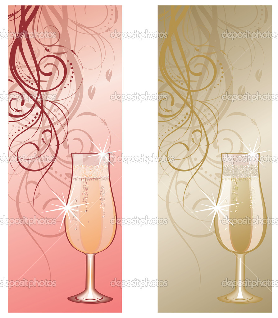 Two banners with champagne. vector illustration — Stock Vector #5873395
