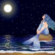 Night mermaid, vector illustration — Stock Vector