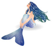 Isolated Blue Mermaid sitting, vector illustration — Stock Vector