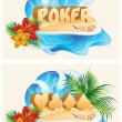 Tropical poker banners, vector illustration — Stock Vector