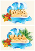 Tropical poker banners, vector illustration — Stock Vector