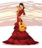 Beautiful Spanish girl with guitar, vector illustration — Stock Vector