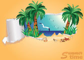 Tropical summer time banner, vector illustration — Stock Vector