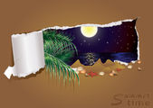 Tropical night banner, vector illustration — Stock Vector