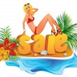 Summer shopping sale. vector illustration — Image vectorielle