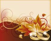 Herbst Hochzeit Karte, Vektor-illustration — Stockvektor