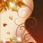 Autumn wedding invitation card. vector illustration — Stock Vector