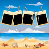 Summer beach background with photo frame, vector illustration — Stock Vector