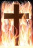 Cross on fire, vector illustration — Stock Vector