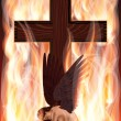 Fallen angel and cross. vector illustration - Stockvectorbeeld