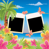 Summer scrapbooking card for two photo. vector illustration — Stock Vector