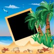 Tropical Photo frame, vector illustration — Stock Vector