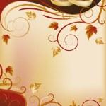 Autumn wedding invitation card, vector illustration — Stock Vector